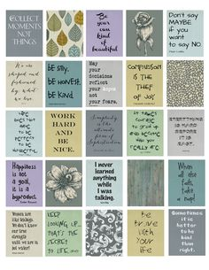 "Life Quotes Life Planner Printable 1.5""x1.9"" stickers for your erin condren life planner weekly boxes. by ArtByMarnie on Etsy"