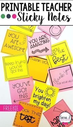 Printable Teacher Sticky Notes Check out these CUTE printable sticky note templates designed just for teachers. Great idea for motivating . Teacher Morale, Staff Morale, Bon Point, Quotes For Students, Encouraging Notes For Students, Gifts For Students, Office For Students, Student Gifts, Teacher Notes