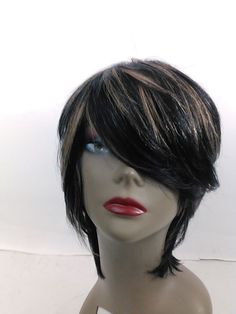 Yaki human Hair Handmade Wig layered bob ajustable cap sewing wig 1b/30  #Bob