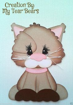 Scrapbook paper piecing brown pink kitty cat by my tear bears kira Diy Paper, Paper Art, Paper Crafts, Paper Piecing Patterns, Craft Patterns, Rock Crafts, Crafts To Do, Paper Punch Art, Use E Abuse