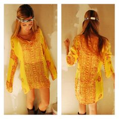 Wanderlust Gypsy Blouse/ Vintage Tunic Peasant Top Henley Sheer Gauze Rayon Made in India Yoga Henna Top Small Medium Large
