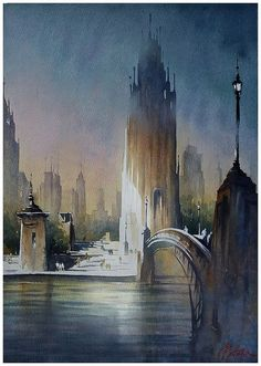 """""""the city imagined"""" thomas w schaller watercolor 24x18 inches 26 march 2013:"""