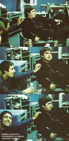 """""""Mother's pride Pt. Brothers G in mutualadmiration shocker! How is Noel admiring Liam here? Liam Oasis, Liam Gallagher Noel Gallagher, Oasis Music, Liam And Noel, Oasis Band, Old Rock, Rock And Roll Bands, Britpop, Best Rock"""
