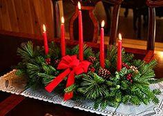 Arranjo para o centro da mesa da ceia de Natal