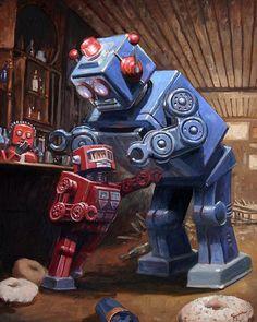 Vintage Robots, Retro Robot, Arte Sci Fi, Sci Fi Art, Eric Joyner, Arte Lowbrow, Steampunk, Arte Robot, Robot Concept Art