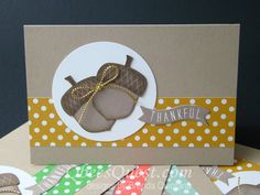 Acorny Note Cards | Video Tutorial, Acorny Thank you, Acorn Builder Punch, Bitty Banners Framelits, Note Cards, A1, 2015-2017 In-Colors, Stampin' Up, Qbee's Quest, Brenda Quintana