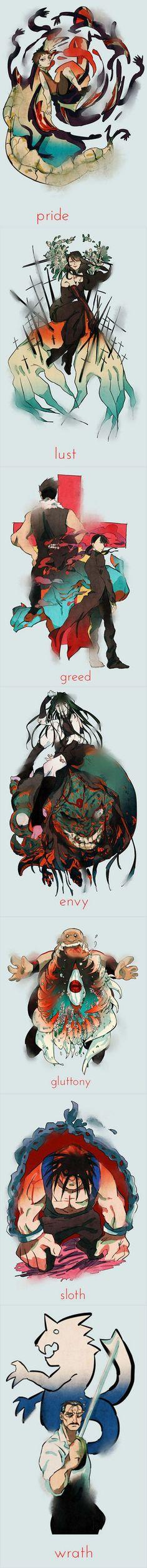 Fullmetal Alchemist - the Seven Deadly Sins - homunculi:
