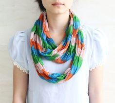 Sale Green blue pink stripe scarf retro by blackbeanblackbean, $5.00