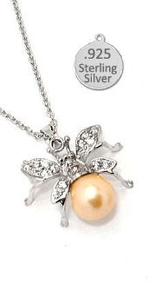 925 STERLING SILVER FIREFLY & PEARL PENDANT NEW unique necklace