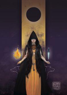 Hekate by Sabine Cazassus (Z-Oras on DeviantArt) Hecate Goddess, Goddess Art, Divine Goddess, Wiccan, Magick, Roman Gods, Occult Art, Triple Goddess, Witch Art