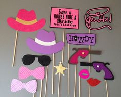 Bachelorette Photo Booth Prop Set, Girls Night Out, wild wild west set, girls just want to have fun, glitter props