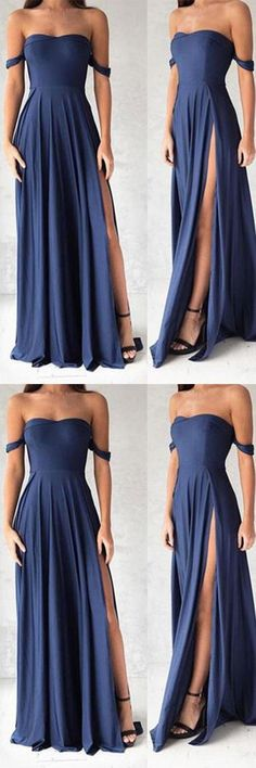 Navy Blue Prom Dresses,Elegant Evening Dresses,Long Formal Gowns,Slit Party
