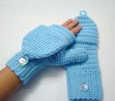 Convertible Fingerless Mittens Light Blue by CreativeEndeavorsKS