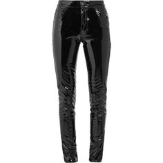 Anthony Vaccarello Vinyl skinny pants ($1,200) ❤ liked on Polyvore featuring pants, black, anthony vaccarello, skinny pants, cuffed pants, button pants and shiny pants