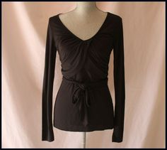 Stamp 10 Blouse Black Size S Long Sleeves Waist Strap Wrap Casual