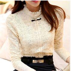 Nuevo 2014 de las mujeres calientes tops mujeres clothing moda blusas femininas blusas y camisas de lana las mujeres de ganchillo blusa camisa de encaje 999