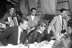 Marcello Mastroianni, Anouk Aimée and Pier Paolo Pasolini on the set of 'La Dolce Vita' (1959)