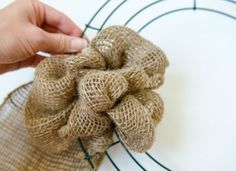making a burlap wreath - step four
