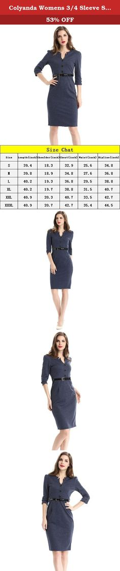 "Colyanda Womens 3/4 Sleeve Slim Wear to Work Business Bodycon Pencil Dress with Blet(Darkblue L). Feature Material:Nylon/Spandex Knee Length ,3/4 Sleeve Casual Business Slim Dress Work Wear with Belt Size:S,M,L,XL,2XL,3XL Pictures may slightly vary from actual item due to lighting and monitor Size Chart S:Length 39.4"" Chest 32.9"" Waist 25.6"" Hipline 34.8"" Shoulder 18.3"" M:Length 39.8"" Chest 34.8"" Waist 27.6"" Hipline 36.8"" Shoulder 18.9"" L:Length 40.2"" Chest 36.8"" Waist 29.5"" Hipline 38.8""..."