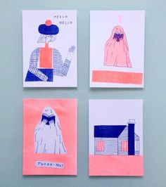 I also fell for @mariamidttun 's riso cards at the @diycultures at @richmixlondon #zine #zinefair #diycultures #mariamidttun #ghost #cute #art #illustration #draw #drawing #print #house #riso #risoprint #risograph #london #event #eastlondon #richmix