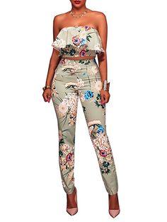 d6e9c6c10 Gamery Women s Sexy Floral Ruffles Off Shoulder 2 Pieces Outfits Long  Jumpsuits Rompers Light Green X-Large. Amanda Amazon · fashion nova