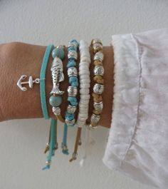 PLEASE NOTE: this listing is for 1 faux suede silver fish bracelet as in 2nd photo  natural faux suede with a silver fish, turquoise wooden beads
