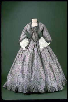 Day dress, 1861-63 From the Museum of London via Molly Elizabeth Costumes