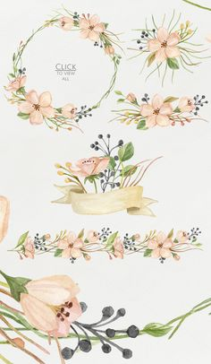 Watercolor blooming. Spring set by NataliVA on Creative Market Floral Watercolor, Wreath Watercolor, Watercolor Paintings, Watercolors, Spring Drawing, Illustration Blume, Watercolor Illustration, Graphic Illustration, Floral Border