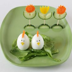 Spring or Easter food ideas! vegetable tulips, chicken eggs.