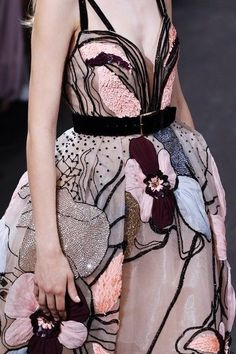 floral dress, sequin, chic, avant garde, belted dress