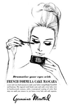 The brush used is not typical of earlier block mascara and has more in common with those . Vintage Makeup Looks, Vintage Makeup Ads, Vintage Ads, Vintage Posters, Vintage Glamour, Vintage Beauty, Vintage Fashion, Retro Ads, Vintage Advertisements