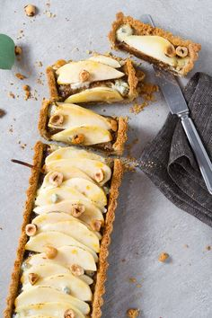 Pear, Hazelnut & Blue Cheese Tart with Whole-Wheat Crust #holiday #dessert Tart Recipes, Snack Recipes, Dessert Recipes, Desserts, Cheese Tarts, Cheese Scones, Pear Dessert, Pear Tart, Low Carb Ice Cream