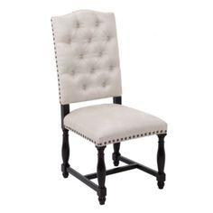 """Montecito Tufted Side Chair $299 Dining chairs are constructed of solid kiln-dried birch wood, corner blocked. Heavy gauge sinuous spring suspension system in the seat and high-resiliency foam with a soft Dacron top padding. Rich dark espresso finish is applied by hand in a 10-step process, finished off with a high-gloss lacquer topcoat. Chair is hand-tufted. Hand-applied brass nail heads of front and back of chair. Oyster microfiber. Side Chair - 20L x 25""""W x 44""""H Seat Height 20"""""""