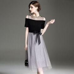 ドレス-ミニ・ミディアム 上品 バイカラー 切替 結婚式 お呼ばれ パーティー ドレス