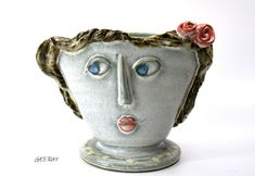 Shorline Girl Vase Clay Bay Pottery Signed J Aurelius Anthropomorphic Face Lady Vintage Pottery, Handmade Pottery, Vintage Ceramic, Ceramic Pottery, Pottery Art, Marcasite Jewelry, Stone Carving, Wood Carving, Pottery Studio