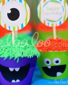 Monsters Birthday Party cupcakes!  See more party planning ideas at CatchMyParty.com!