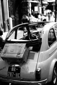 Vintage Fiat 500 with luxury luggage, Paris, by Laurent Scheinfeld.