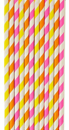 Striped in neon hues, these slender party straws are guaranteed to add a touch of polish to party cocktails.