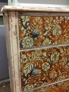 Antique and Distressed Dresser Drawers Stenciled with Flower and Vine Pattern - Allover Brocade Furniture Stencils - Royal Design Studio Hand Painted Furniture, Funky Furniture, Paint Furniture, Repurposed Furniture, Shabby Chic Furniture, Rustic Furniture, Furniture Makeover, Antique Furniture, Furniture Stores