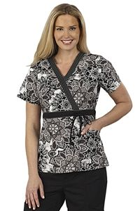 "Peaches Uniforms Kate Top in ""Eclipse Black"" 4333-ECBK Kate Print Top#4333  100% Cotton  Crossover top with solid contrast  Bands at neck and waist  Contrast topstitchig at neck, Adjustable front tie  for added fit, Roomy patch pockets  Length: 26 1/2""  XS-3X $22.50 #scrubs #scrubcouture #nurses"