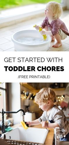 Toddlers are eager helpers! Take advantage of this stage by getting your toddler involved in chores. Inside are seven tips for getting started on toddler chores, plus a free printable with age-appropriate chores. Toddler Chores, Toddler Preschool, Toddler Toys, Toddler Activities, Boy Toddler, Parenting Toddlers, Parenting Books, Parenting Tips, Parenting Articles