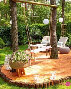 New wooden terrace in my forest garden - Your DIY- Nowy drewniany taras w moim leśnym ogrodzie – Twoje DIY how to make a wooden terrace - Back Gardens, Outdoor Gardens, Indoor Gardening, Landscape Design, Garden Design, Wooden Terrace, Forest Garden, Outdoor Living, Outdoor Decor