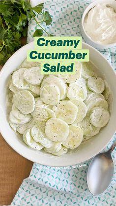 Salad Recipes Low Carb, Vegetable Salad Recipes, Cucumber Recipes, Salad Recipes For Dinner, Vegetable Side Dishes, Side Dish Recipes, Grandma's Recipes, Cooking Recipes