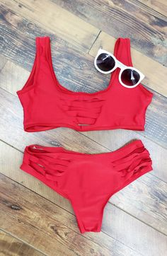 06c03644d3 Simple Hollow out Strappy Two Piece Swimsuit - OASAP.com