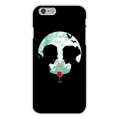Apple iPhone 6 Custom Case White Plastic Snap On - 'Bloody Couple' Vampire Date Silhouettes w/ Moon & Bats