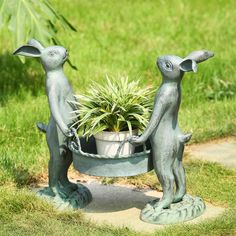 Bunny Gardeners Pot Holder Planter Metal Garden Yard Pool Sculpture,15.5''H. #SmartPlanet