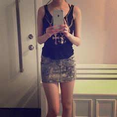 "Tank top and mini denim skirt set Selling them together, top is preowned and mini denim skirt is brand new. Waist 25"" Tags: dollskill, h & m, Zara, Anthropologie, Unif, Topshop, forever 21, American Apparel, nasty Gal, Brandy Melville, Abercrombie, madewell Skirts Mini"