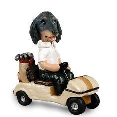 Dachshund Longhaired Black  Golf Cart Doogie Collectable Figurine