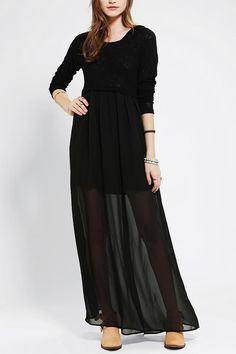 Pins And Needles Hooded Maxi Dress #urbanoutfitters
