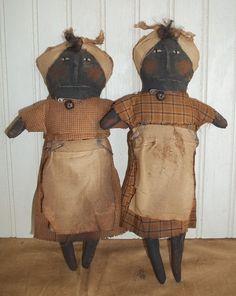 Primitive Grungy Set of Two Little Mammy Dolls #NaivePrimitive